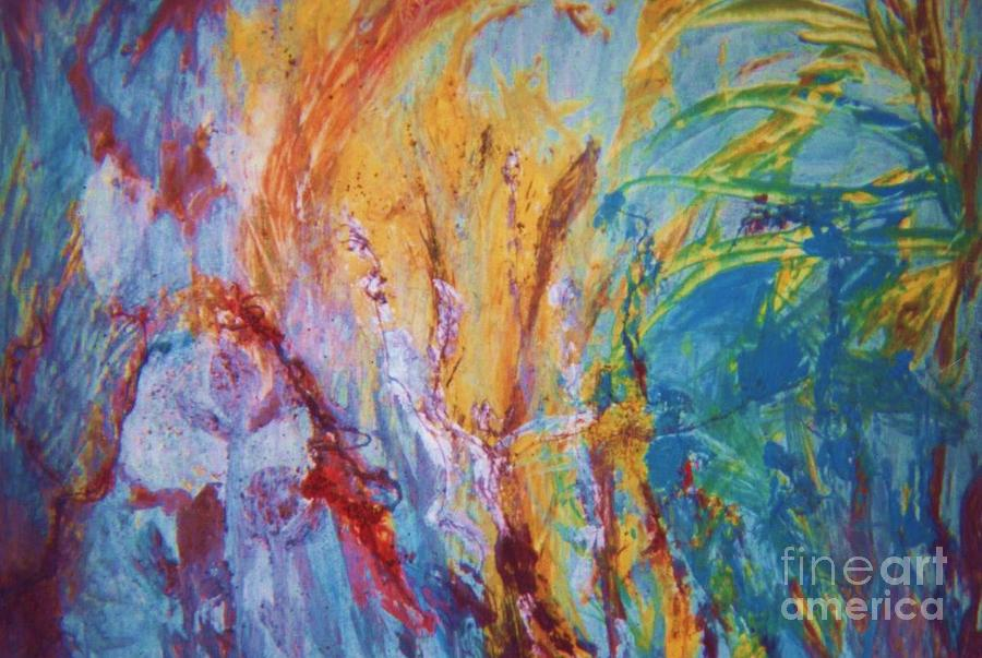 Blues Painting - Colourful Abstract by Ann Fellows