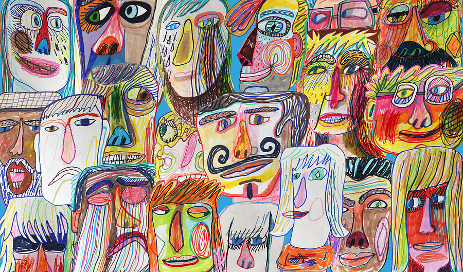 Colourful and bright people crowd background pattern Drawing by Beastfromeast