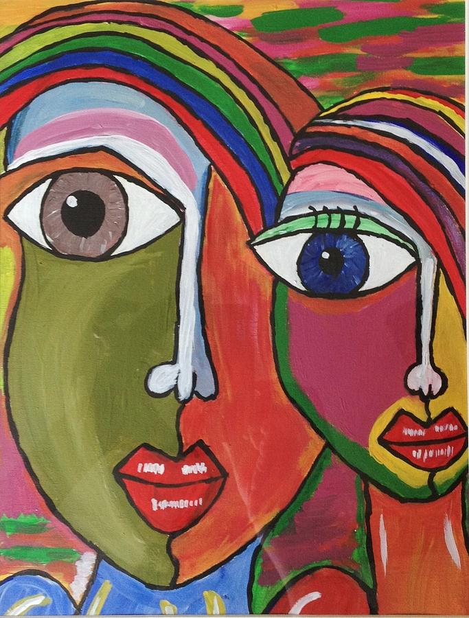 Colourful Boy And Girl Painting by Neha  Shah