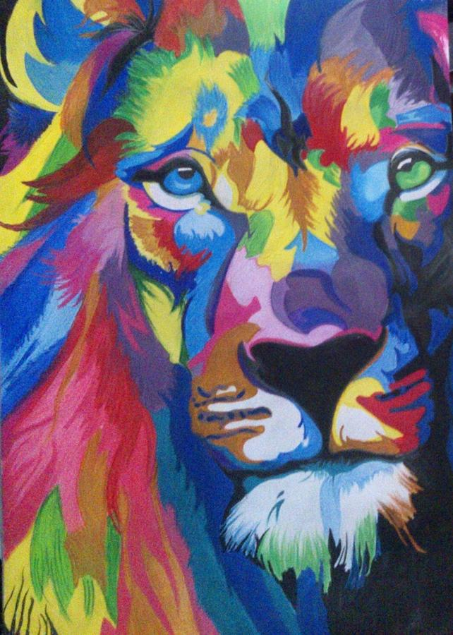 Colourful Cool Lion Painting By Surbhi Chauhan