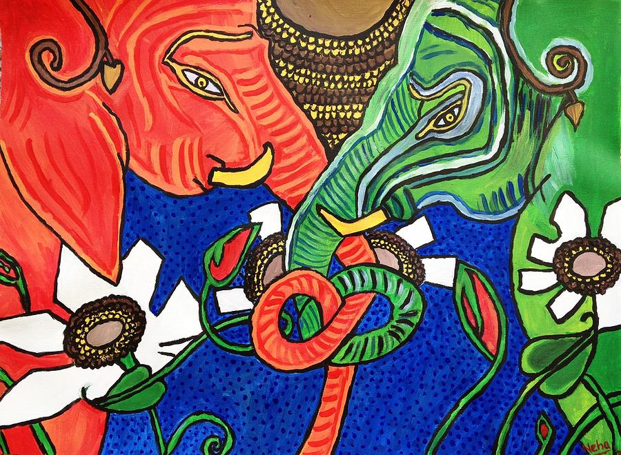Colourful Elephants Painting by Neha  Shah