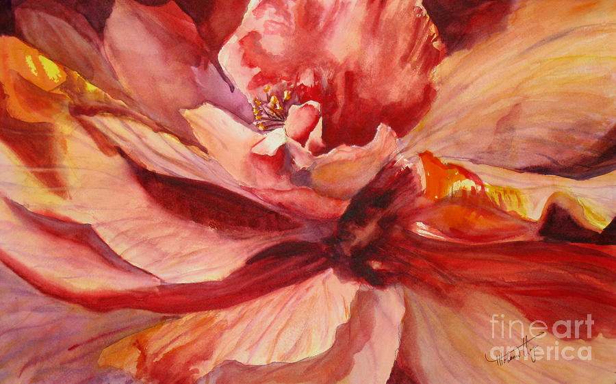 Background Painting - Colourful Hibiscus by Mohamed Hirji