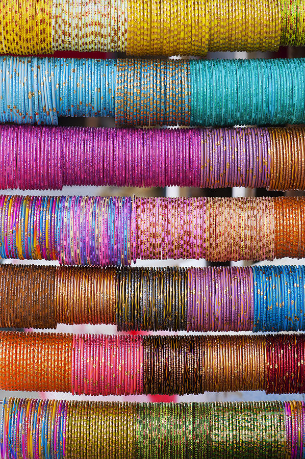 Colourful Photograph - Colourful Indian Bangles by Tim Gainey