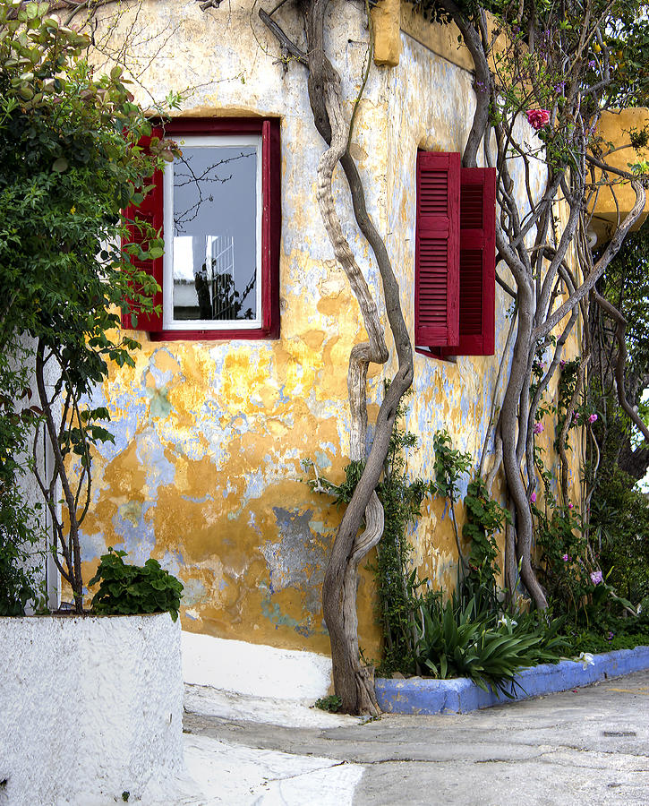 Cottage Vintage Cute Greece Greek Green Photograph - Colourfull Cottage by Radoslav Nedelchev