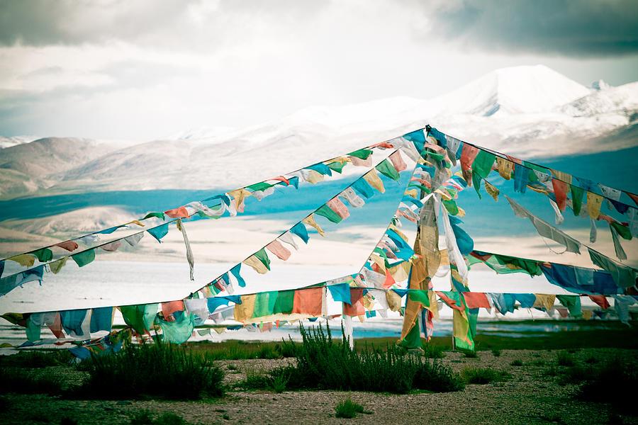 Mountain Photograph - Colourfull Praying Buddhist Flags Lungta  by Raimond Klavins