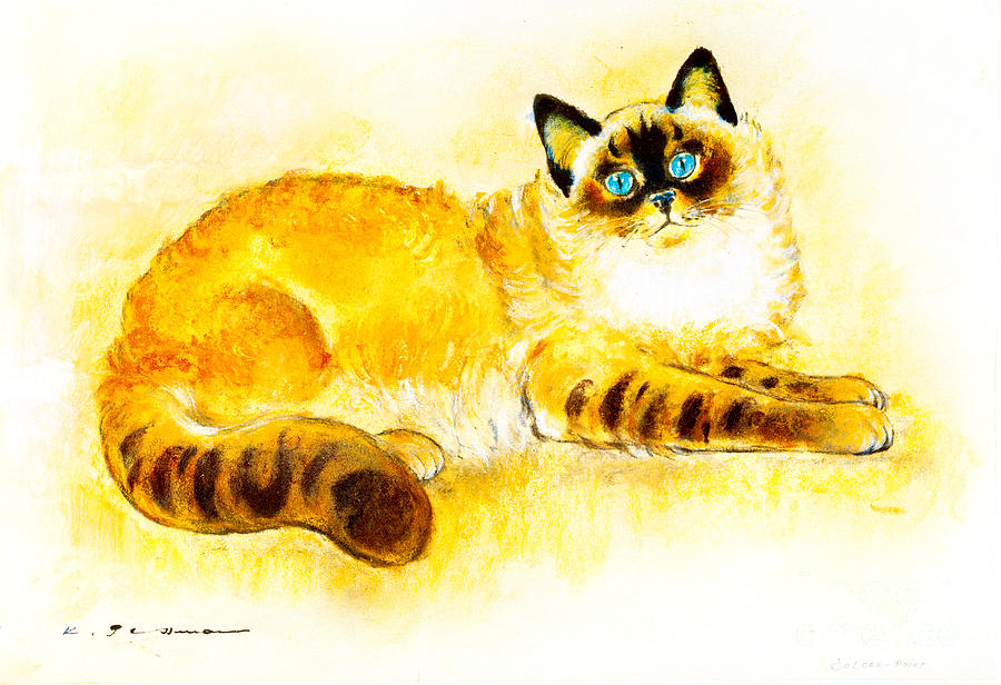 Cat Painting - Colourpoint Cat by Kurt Tessmann