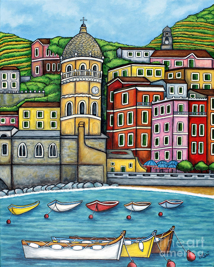 Italy Painting - Colours Of Vernazza by Lisa  Lorenz