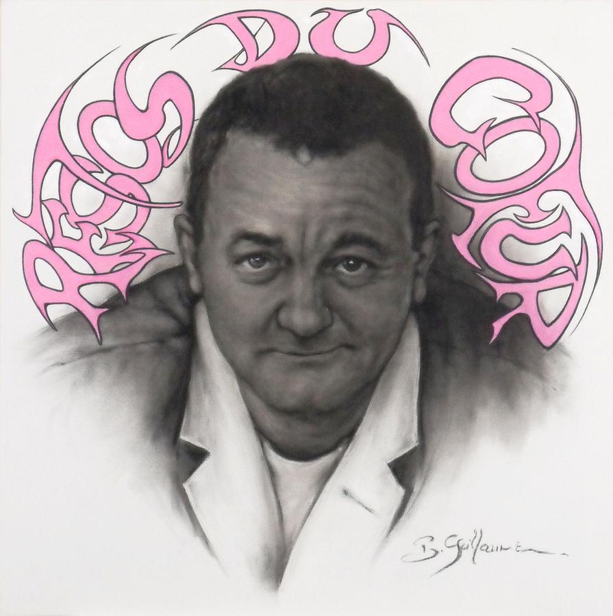 Coluche Drawing - Coluche by Guillaume Bruno