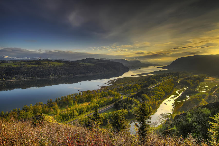 Columbia Photograph - Columbia River Gorge At Sunrise by David Gn
