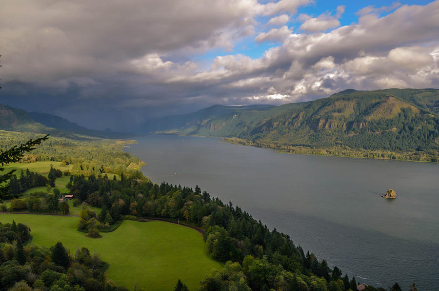 Columbia Photograph - Columbia River Gorge Rain Clouds by Tristina Yarzombek