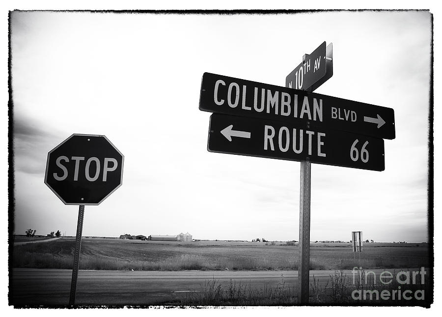 Sign Photograph - Columbian Boulevard by John Rizzuto