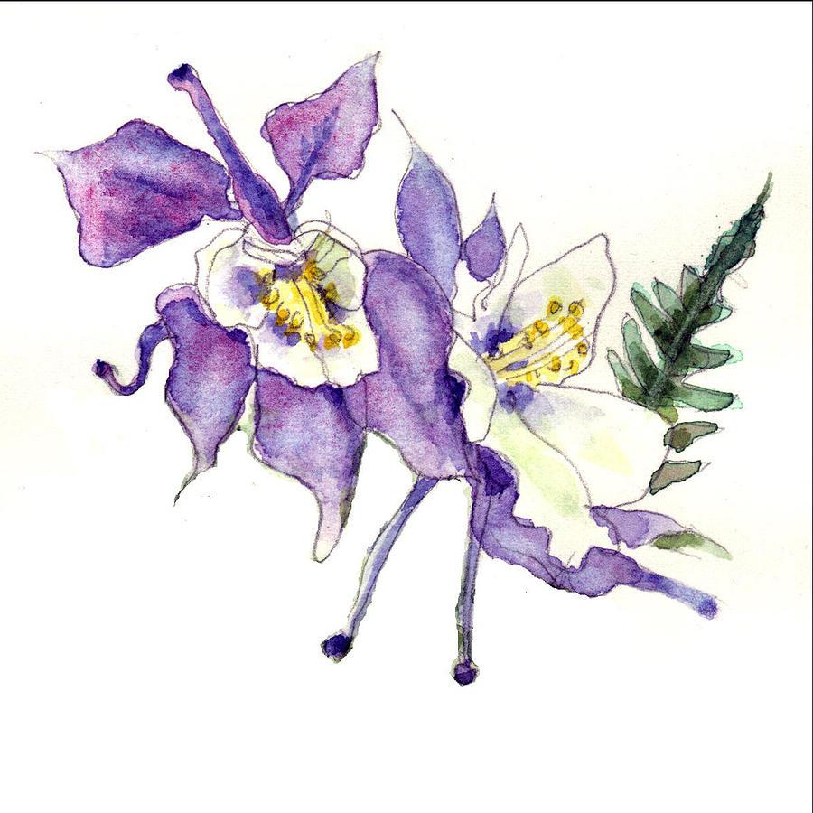 Columbine flowers art painting by blenda studio columbine painting columbine flowers art by blenda studio dhlflorist Gallery