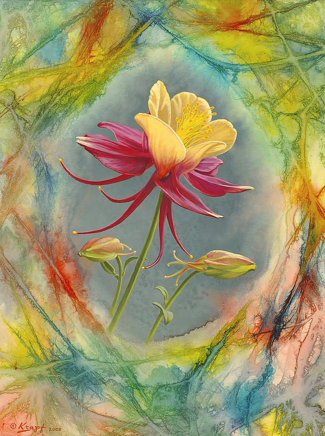 Flowers Painting - columbine In Abstract by Paul Krapf
