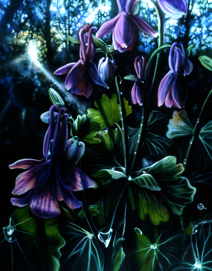 Columbine Painting - Columbine In The Woods by Lynette Yencho