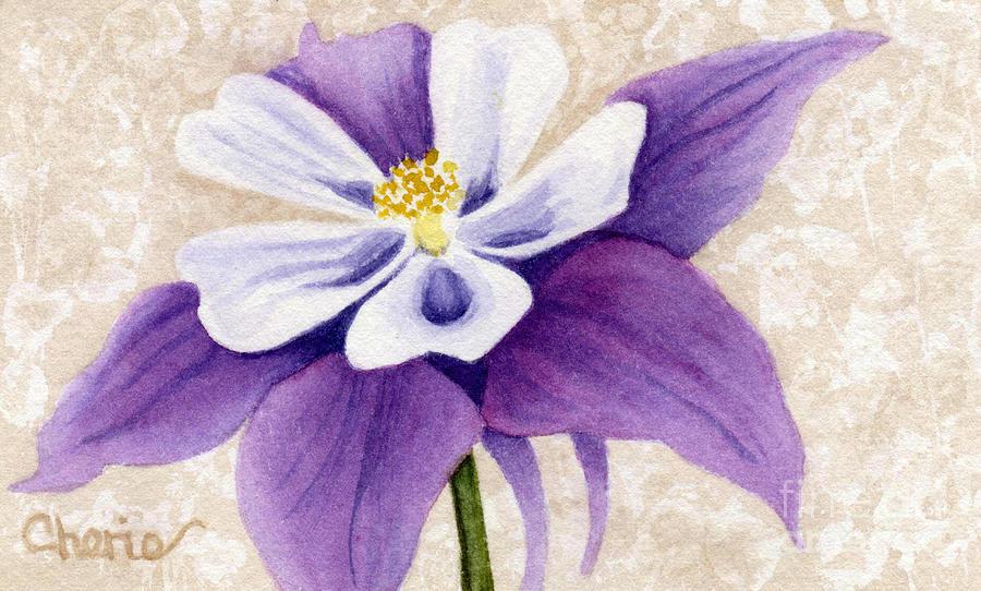 Columbine Painting - Columbine In Violet by Vikki Wicks