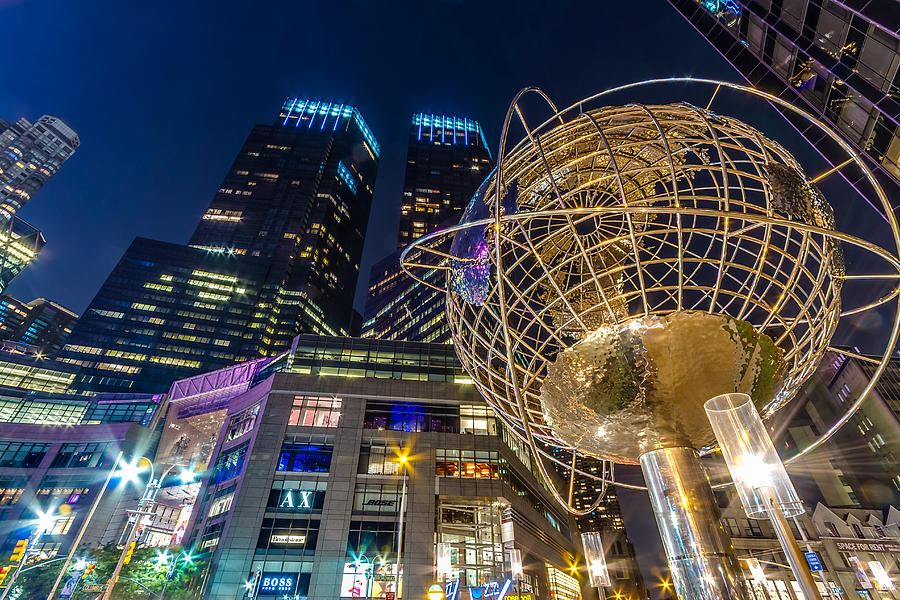 Columbus Circle Globe and Time Warner Towers at Night by Val Black Russian Tourchin