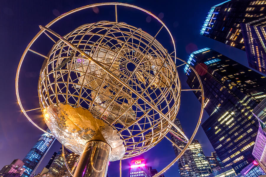 Columbus Circle Globe at Night by Val Black Russian Tourchin