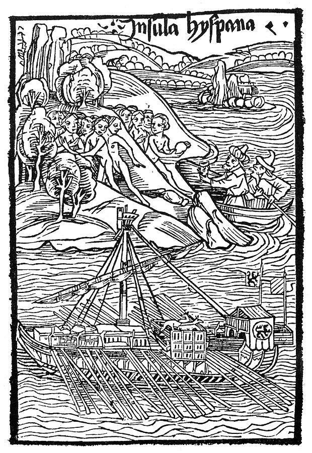 1492 Painting - Columbus Hispaniola, 1492 by Granger