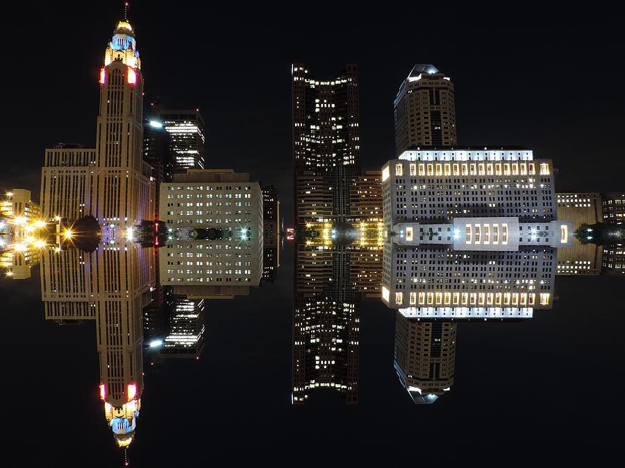 Columbus Reflection At Night Photograph