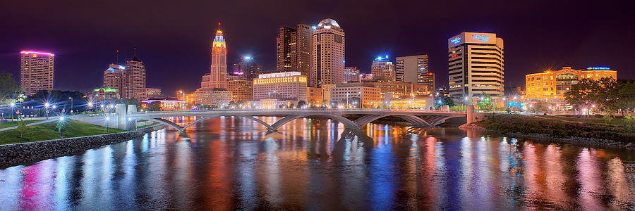 Columbus skyline at night color panorama ohio photograph for Ohio holiday craft shows