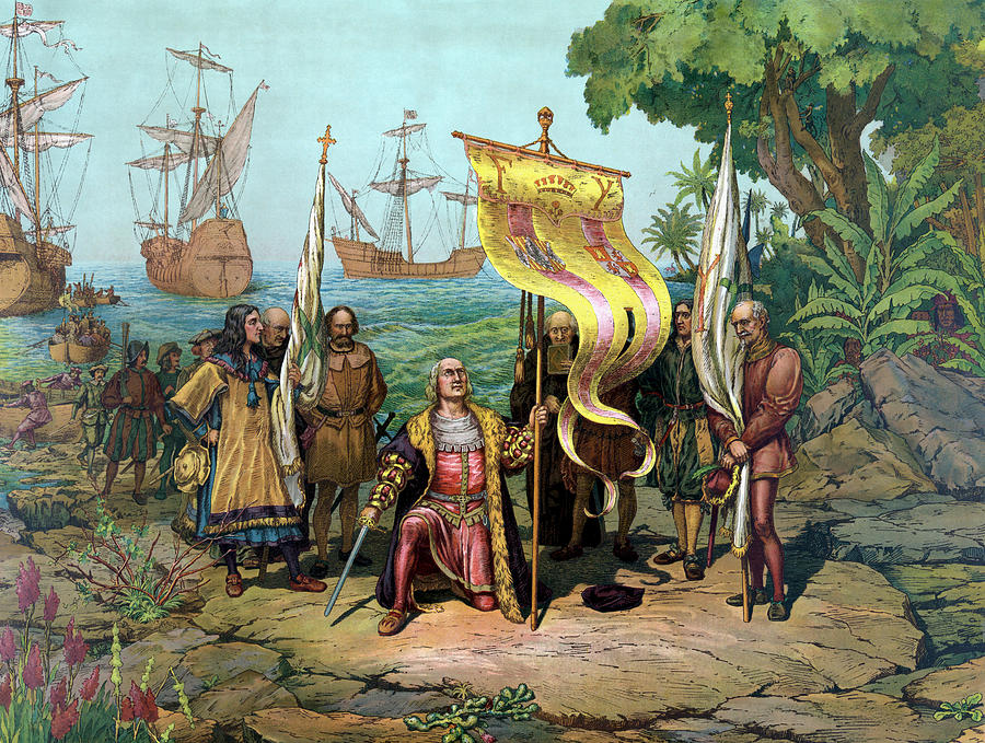Christopher Columbus Painting - Columbus Taking Possession Of The New Country by War Is Hell Store
