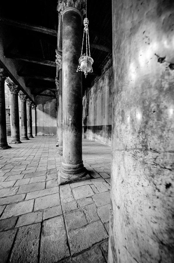Bethlehem Photograph - Columns At The Church Of Nativity Black And White Vertical by David Morefield