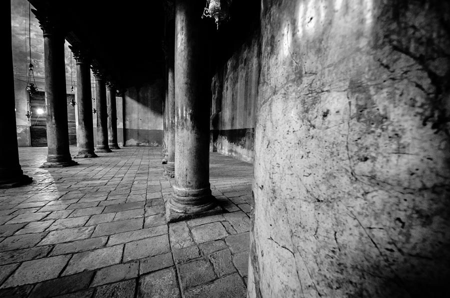 Israel Photograph - Columns At The Church Of Nativity by David Morefield