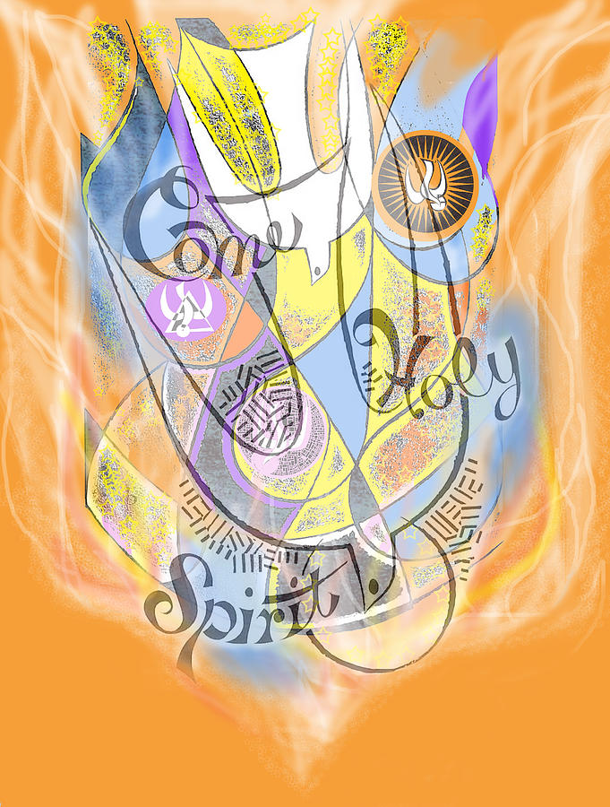 Dove Digital Art - Come Holy Spirit Come by Anne Cameron Cutri