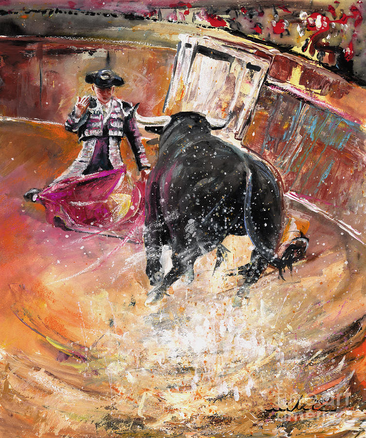 Bullfight Painting - Come If You Dare by Miki De Goodaboom