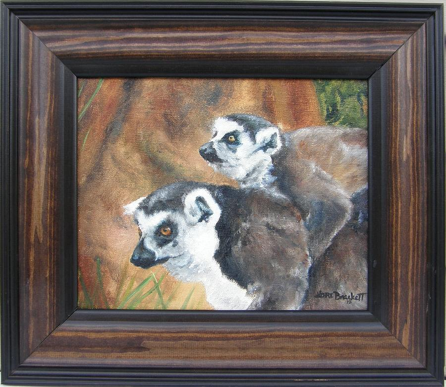 Lemur Painting - Come On Come On - Framed by Lori Brackett