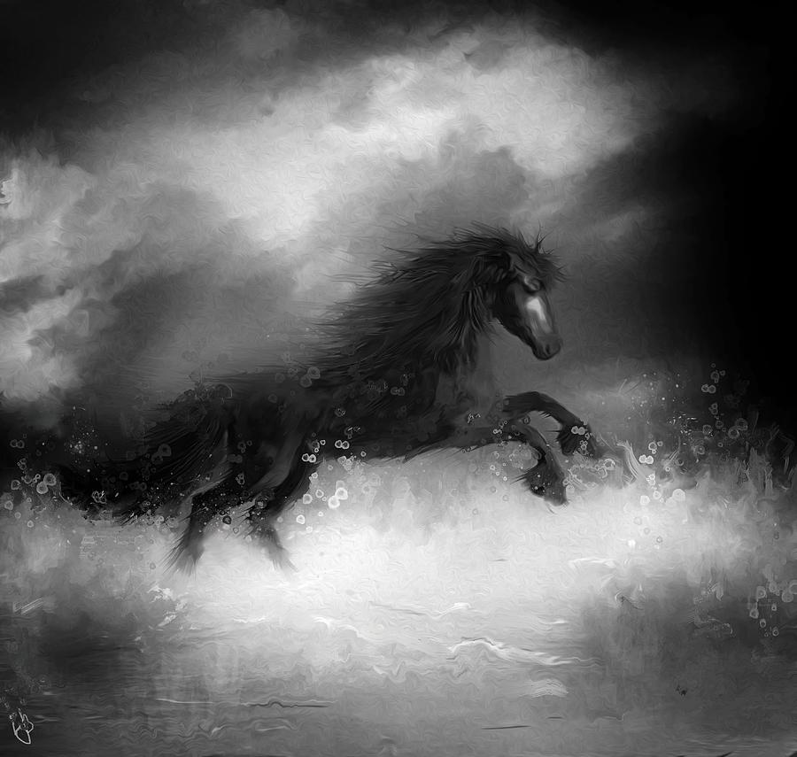 Horse Digital Art - Comes A Dark Horse by Hazel Billingsley