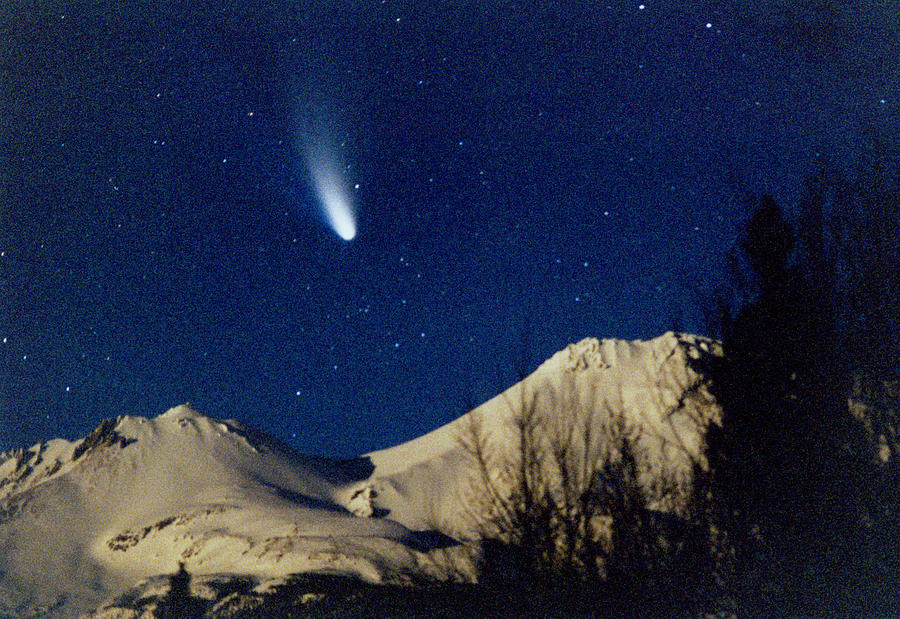California Photograph - Comet Hale Bopp Rising Over Mount Shasta 01 by Patricia Sanders