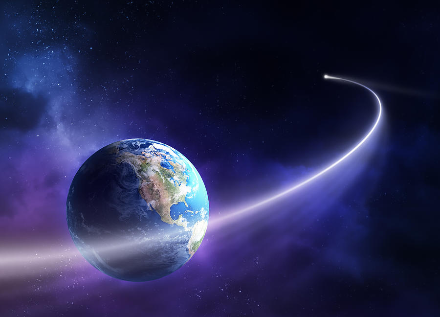 Astronomy Photograph - Comet Moving Past Planet Earth by Johan Swanepoel