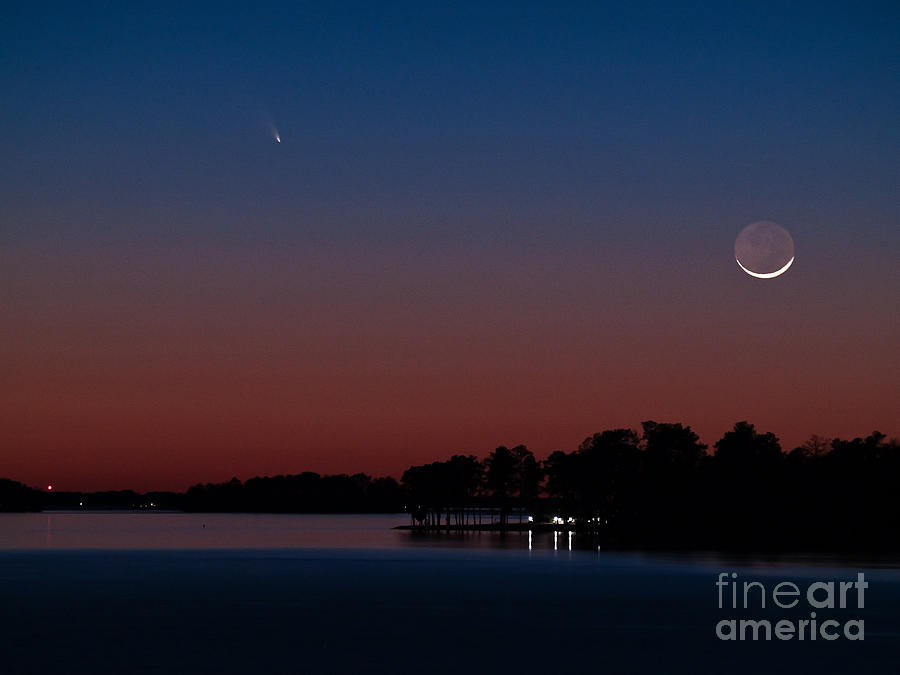 Comet Photograph - Comet Panstarrs And Crescent Moon by Charles Hite