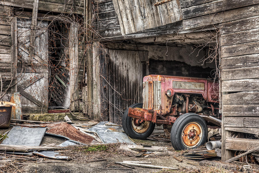 Tractor Photograph - Comfortable Chaos - Old Tractor At Rest - Agricultural Machinary - Old Barn by Gary Heller