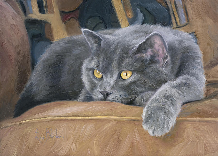 Cat Painting - Comfortable by Lucie Bilodeau