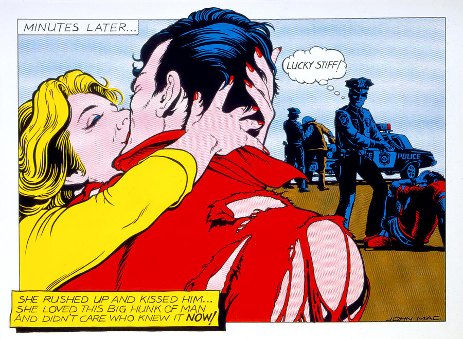 80s Photograph - Comic Strip Kiss by MGL Studio