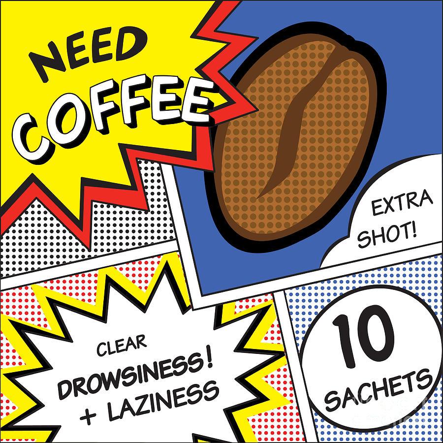 Symbol Digital Art - Comic Stripes Of Coffee Drink by Neens