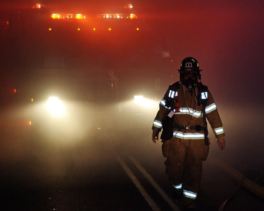 Firefighter Photograph - Coming Out by Leeon Photo