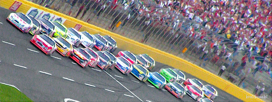 Nascar Painting - Coming Out Of Turn 4 by Kenneth Krolikowski