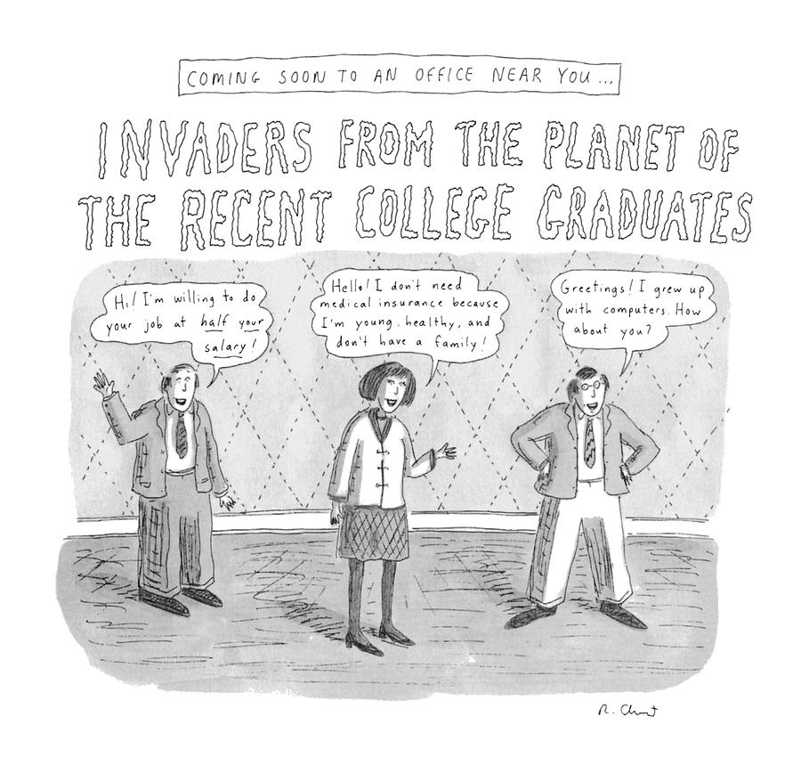 Coming Soon To An Office Near You: Invaders Drawing by Roz Chast