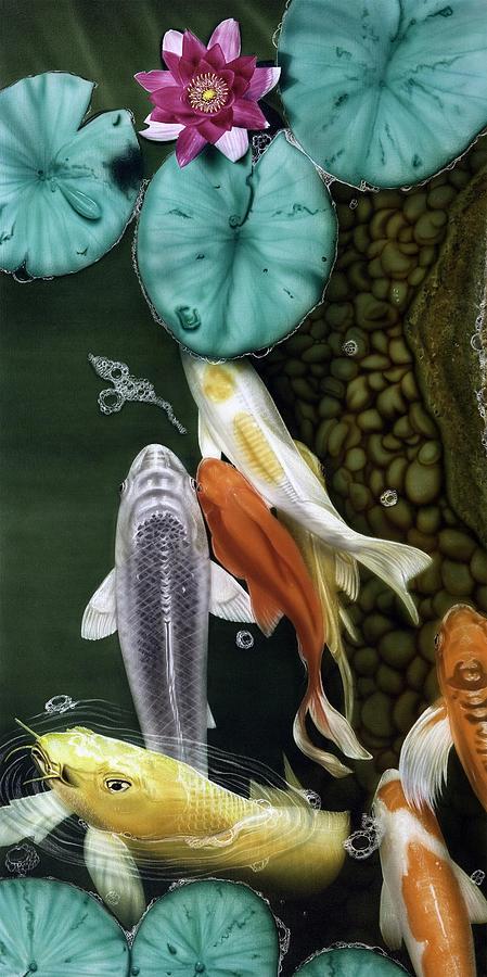 Koi Painting - Coming Up Short by Dan Menta