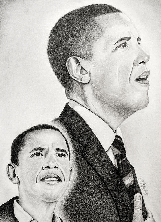 Barack Drawing - Commander In Chief by Timothy Gaddy