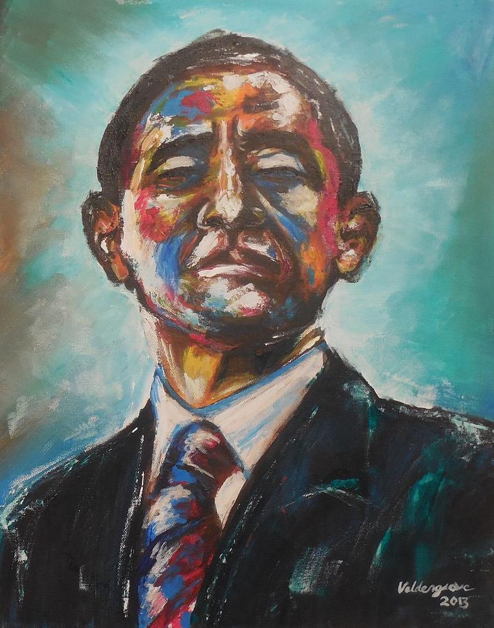Barack Obama. Portrait Painting - Commander In Chief by Valdengrave Okumu