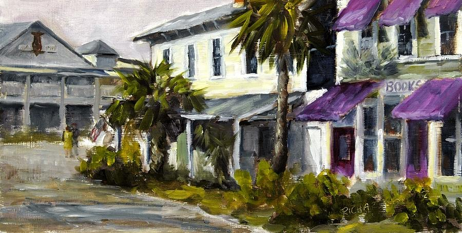 Purple Awnings Painting - Commerce And Avenue D by Susan Richardson