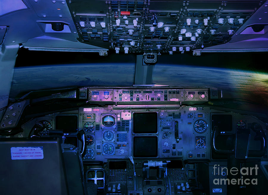Commercial airplane cockpit by night photograph by gunter for Airplane cockpit wall mural