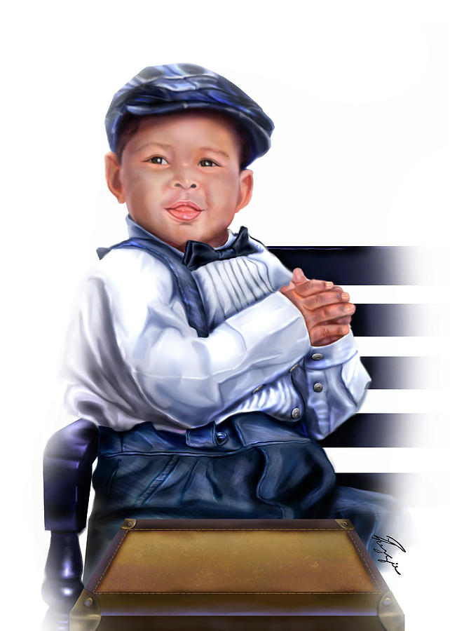 Little Boy Painting - Commissioned - Handsome Baby Boy 1a by Reggie Duffie