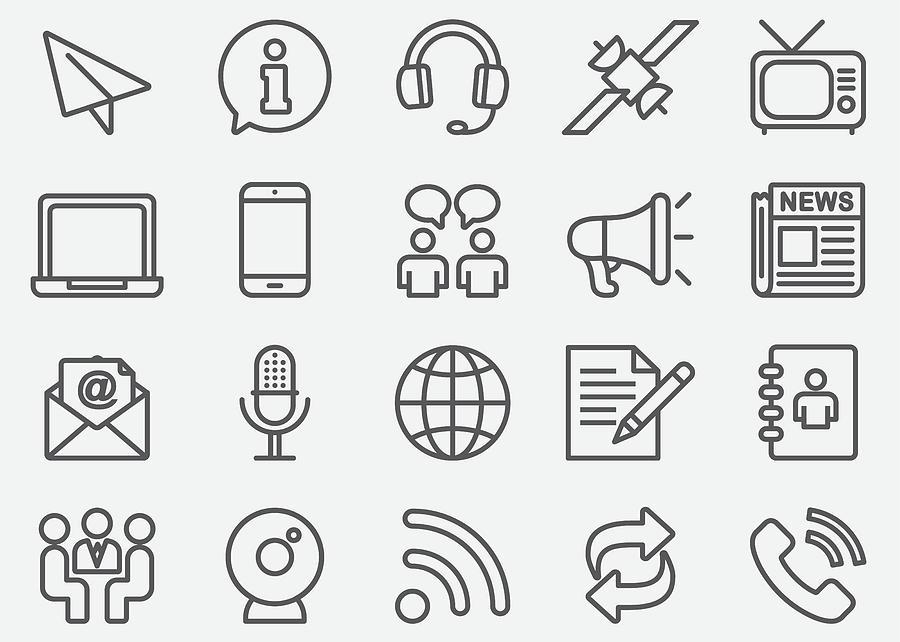 Communication & Social Line Icons Drawing by LueratSatichob