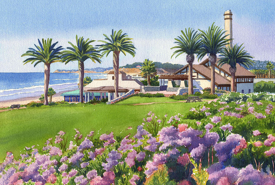 Community Center Painting - Community Center At Del Mar by Mary Helmreich