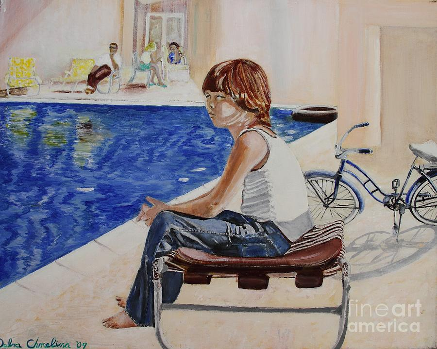 Boy Painting - Community Pool by Debra Chmelina